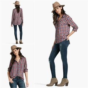 Lucky Brand S Bungalow Plaid Shirt 7W42862